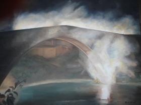Embrasement du pont roman Nyons