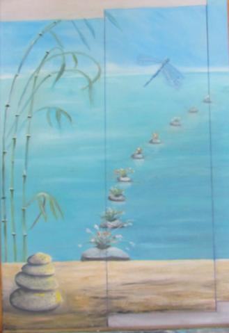 Petits cailloux Huile sur toile 8 paysage