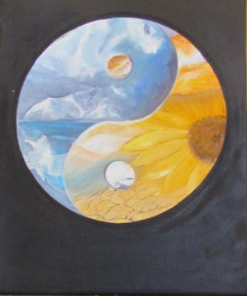 Les quatre éléments Huile sur toile 33x46ur toile 8 paysage