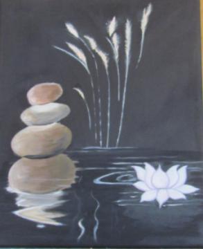 Lotus Huile sur toile 33x46