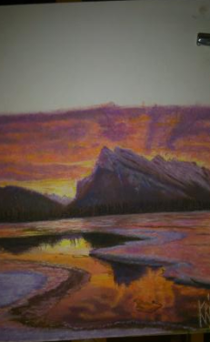 MAUGER Christiane Lac canadien automne Pastel